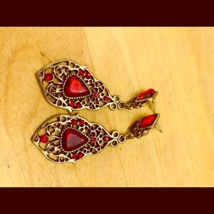 Gorgeous silver and Red classic earrings.